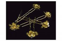 Epingle à chignon fleur strass gold