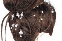 Epingle à chignon perle strass argent