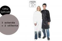 - Lot peignoirs politex blanc à pressions 3 achetés + 2 offerts