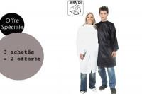 - Lot peignoirs politex blanc à scratch 3 achetés + 2 offerts