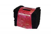 - Lot de 10 serviettes microfibres noires